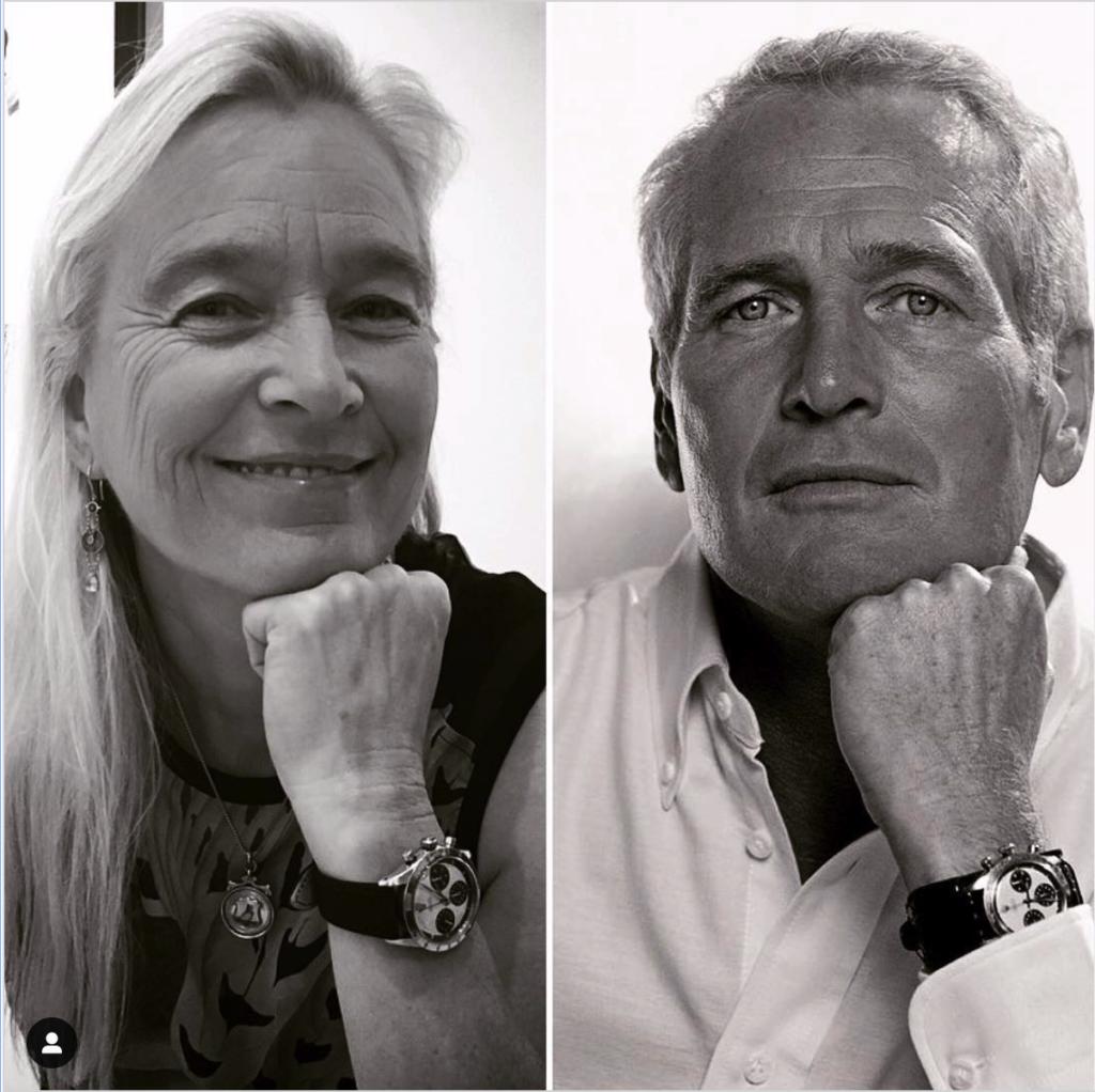 نيومان مع زوجته جوان وودوارد وهما يرتديان ساعة رولكس دايتونا Daytona