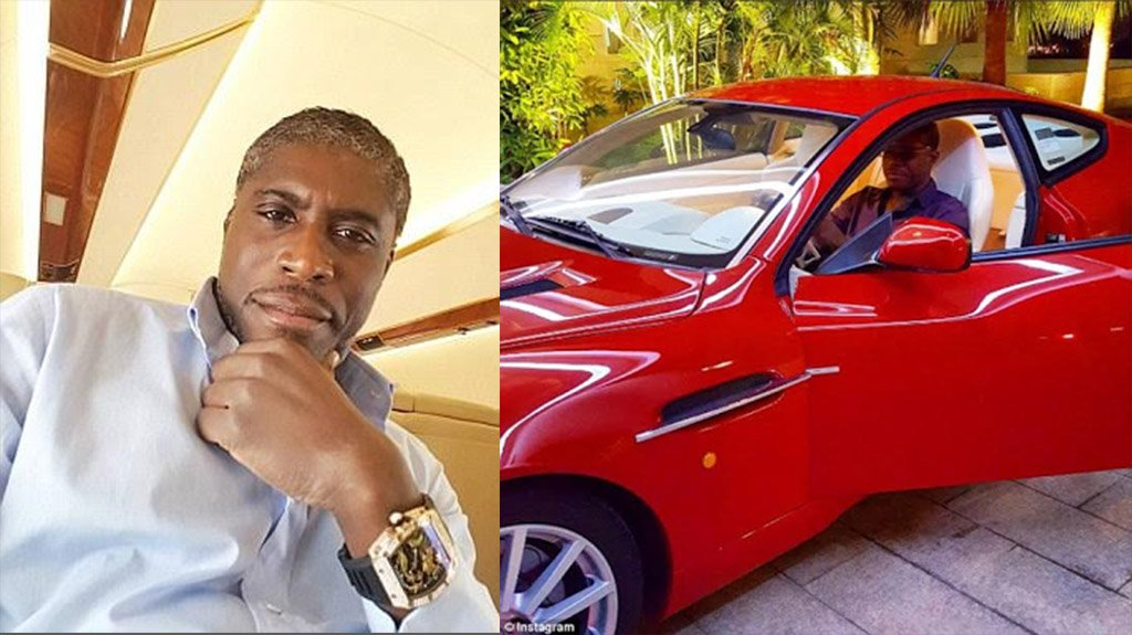تيودوران اوبيانغ نائب رئيس غينيا الاستوائية مع سيارته الفارهة التي اشتراها باموال الفساد