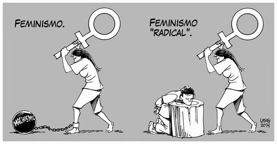 النسوية المتطرفة تنشر افكارها المبنية على كراهية الرجال مع استثناء الرجال الذي يتبنون افكارها